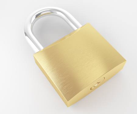 New metal locked padlock laying and isolated on white background Stock Photo - 49082569