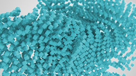 Light blue abstract symbol made of cubes 3d Illustration