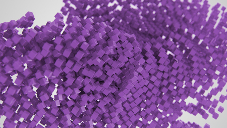 Purple chaotic abstract cube background 3d Illustration