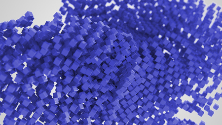 Dark blue abstract symbol made of cubes 3d Illustration