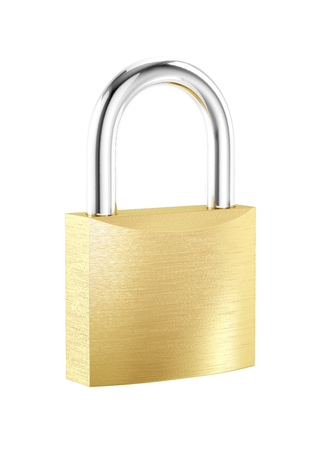 New metal locked padlock isolated on white background
