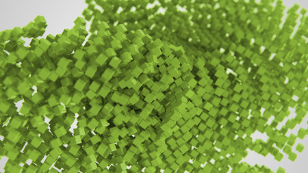 Green chaotic abstract cube background 3d Illustration
