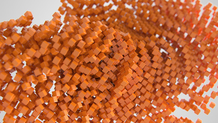 Orange chaotic abstract cube background 3d Illustration