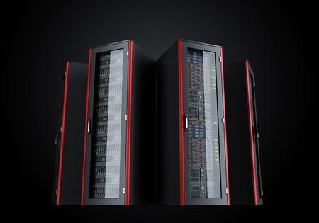 Set van server racks die op zwarte achtergrond