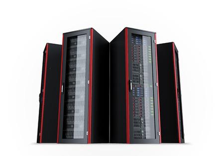 centro de computo: Conjunto de bastidores de servidores aislados sobre fondo blanco Foto de archivo
