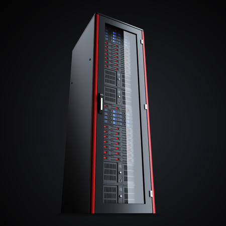 renderfarm: Turned off the server rack isolated on black background, 3d render