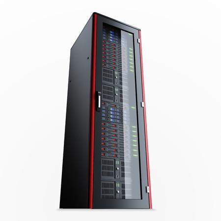 renderfarm: Working server rack isolated on white background Stock Photo