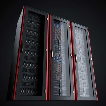 Row of three turned off the server racks isolated on black background, 3d render Archivio Fotografico