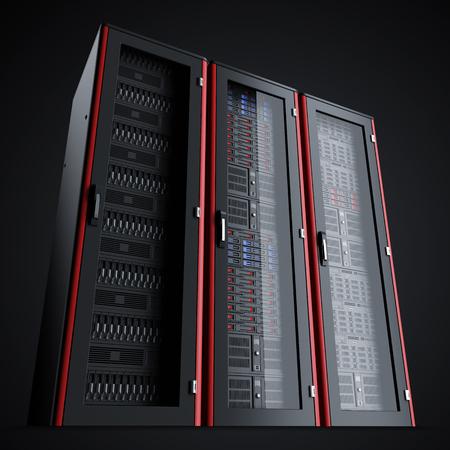 Rij van drie schakelde de serverracks uit op zwarte achtergrond, 3D render