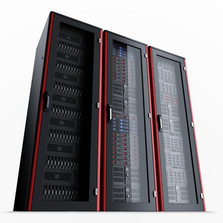 Rij van drie uitgeschakeld de server racks op een witte achtergrond, 3D render Stockfoto