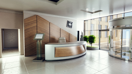 Lobby entrance with reception desk in a business center building Stockfoto