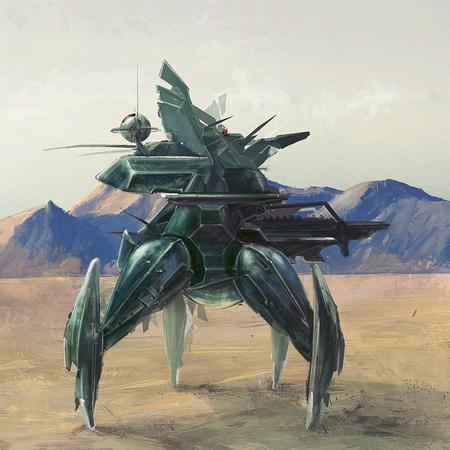 Quatre jambe de robot futuriste, il a perdu après planète apocalyptique art conceptuel Banque d'images - 49082469