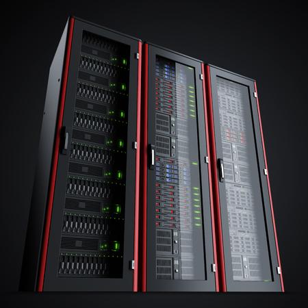 Row of three working server racks isolated on black background