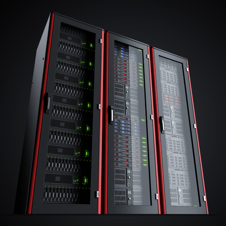 Row of three working server racks isolated on black background
