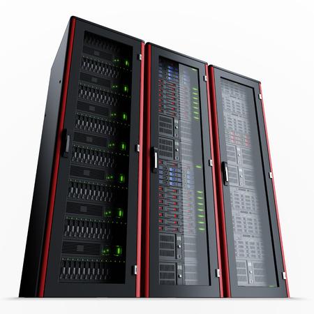 Rij van drie werkdagen server racks op een witte achtergrond Stockfoto