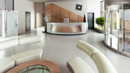 Lobby entrance with reception desk in a business center building Standard-Bild