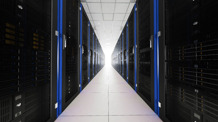 renderfarm: Inside the server room long tunnel with a bright end Stock Photo