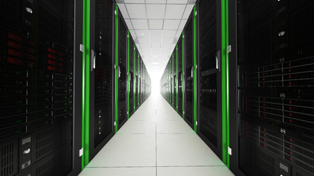 Inside the server room long tunnel with a bright end Stock Photo