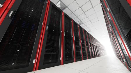 Binnen de serverruimte lange tunnel met een helder einde