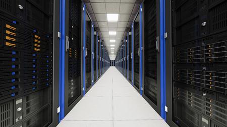 computer center: Dentro de la sala de servidores largo túnel Foto de archivo