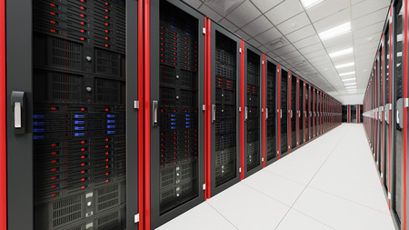 red informatica: Dentro de la sala de servidores largo túnel Foto de archivo