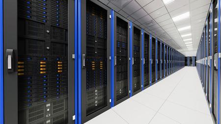 meseros: Dentro de la sala de servidores largo túnel Foto de archivo
