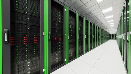 Binnen in de lange tunnel serverruimte Stockfoto