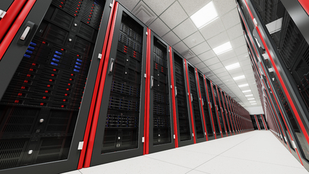 Inside the long tunnel server room floor view Stock Photo