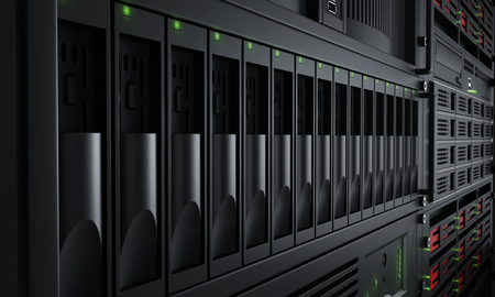Close up of turned on server racks Stockfoto