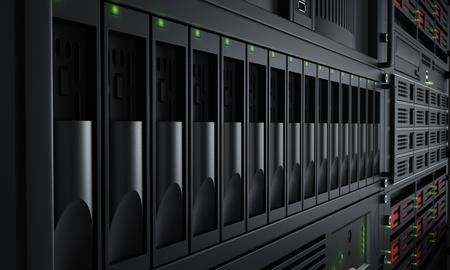 Gros plan sur allumé racks de serveurs Banque d'images - 49082423