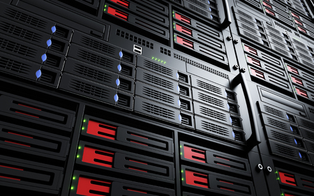 renderfarm: Close up of turned on server racks Stock Photo