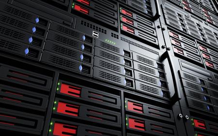 Close up of turned on server racks Archivio Fotografico