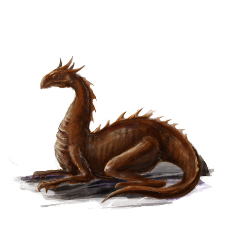 Lying red dragon concept art