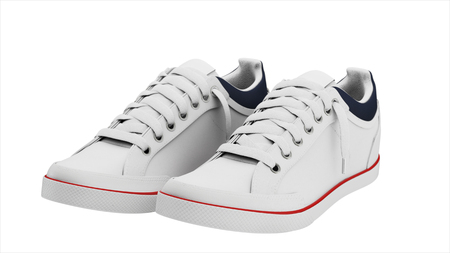 White pair of sneakers sport Stock Photo