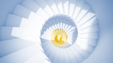 blue spiral: Blue spiral stairs in sun light and yellow center Abstract Stock Photo