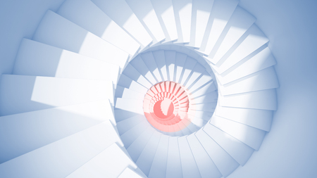 blue spiral: Blue spiral stairs in sun light and red center Abstract