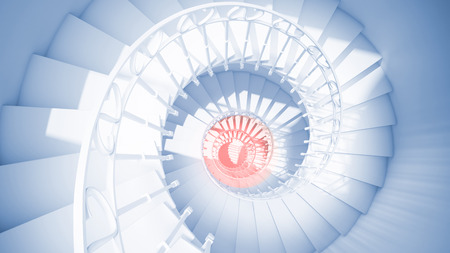 blue spiral: Blue spiral stairs with rails in sun light and red center Abstract