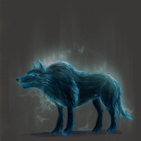 Staande mythische wolf in regen concept art Stockfoto