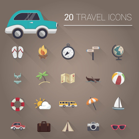 tsar: Colorful cartoon travel icon set