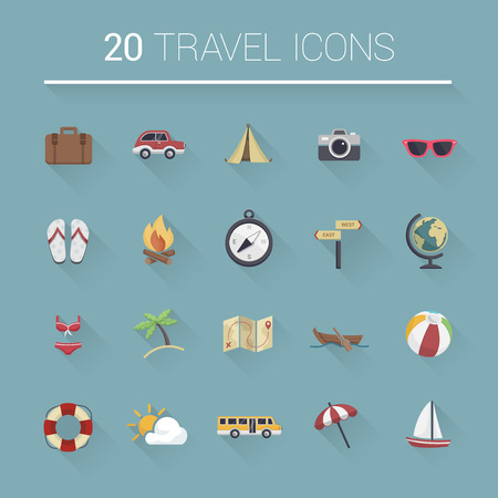travel icon: Colorful cartoon travel icon set