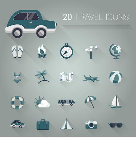 travel bag: Dark cartoon travel icon set Illustration