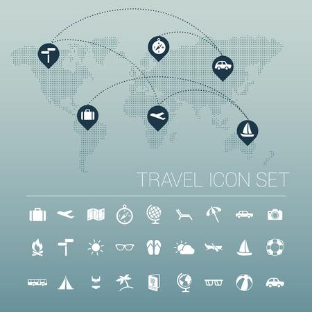 tsar: White travel icon set and world map