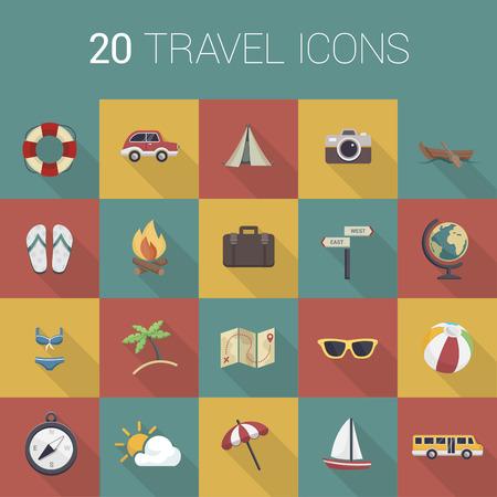 group icon: Colorful travel icon set Illustration