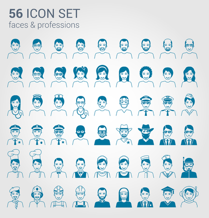 regular people: Regular people and professions icon set