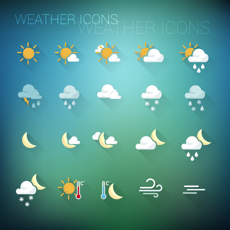 Weather colorful icon set on a dark blue and green blurred background Çizim