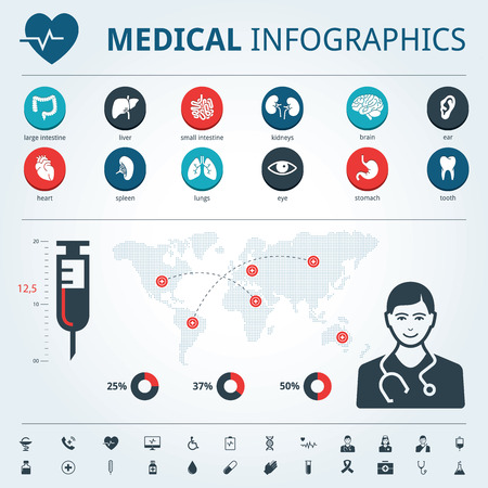 medical icons: Medical icon set human organs with human body and world map graphic info