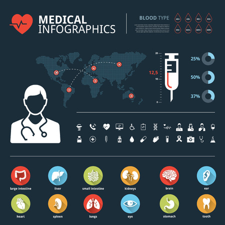 viscera: Medical icon set human organs with human body and world map graphic info