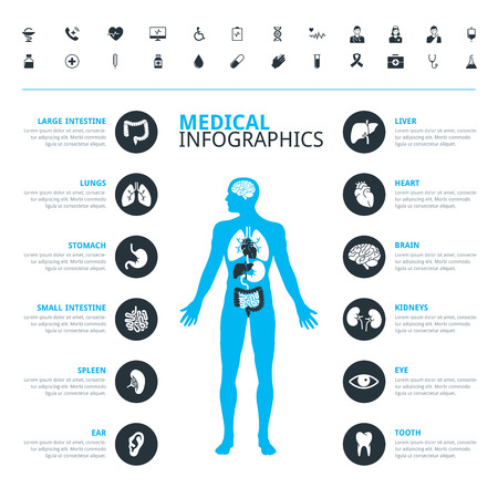 Medical human organs and medical icon set with human body in blue Illustration