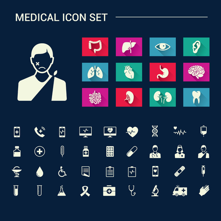 viscera: Medical human organs and medical icon set with sad face on dark background
