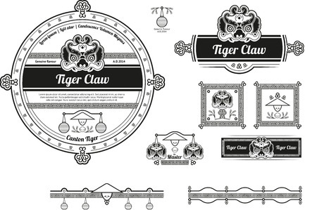 Original beer label and baners design with chinese elements